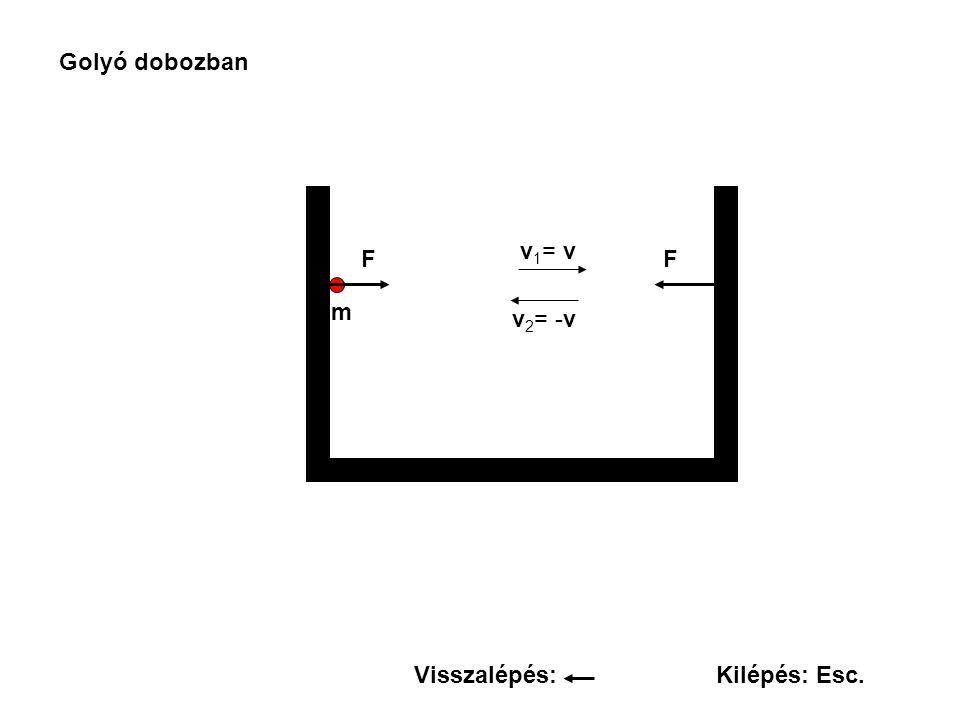 Golyó dobozban v1= v F F m v2= -v Visszalépés: Kilépés: Esc.
