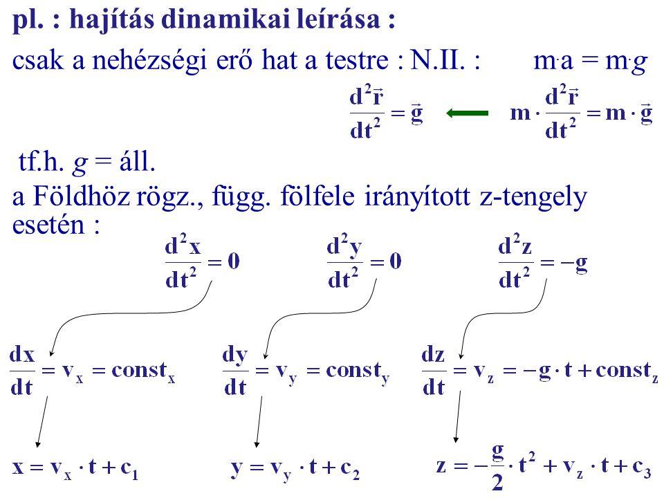 pl. : hajítás dinamikai leírása :
