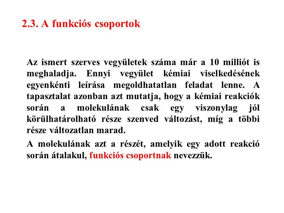 2.3. A funkciós csoportok