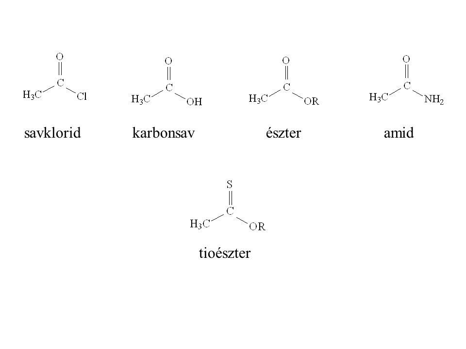 savklorid karbonsav észter amid