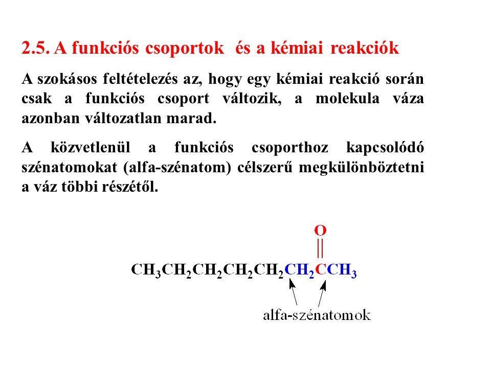 2.5. A funkciós csoportok és a kémiai reakciók