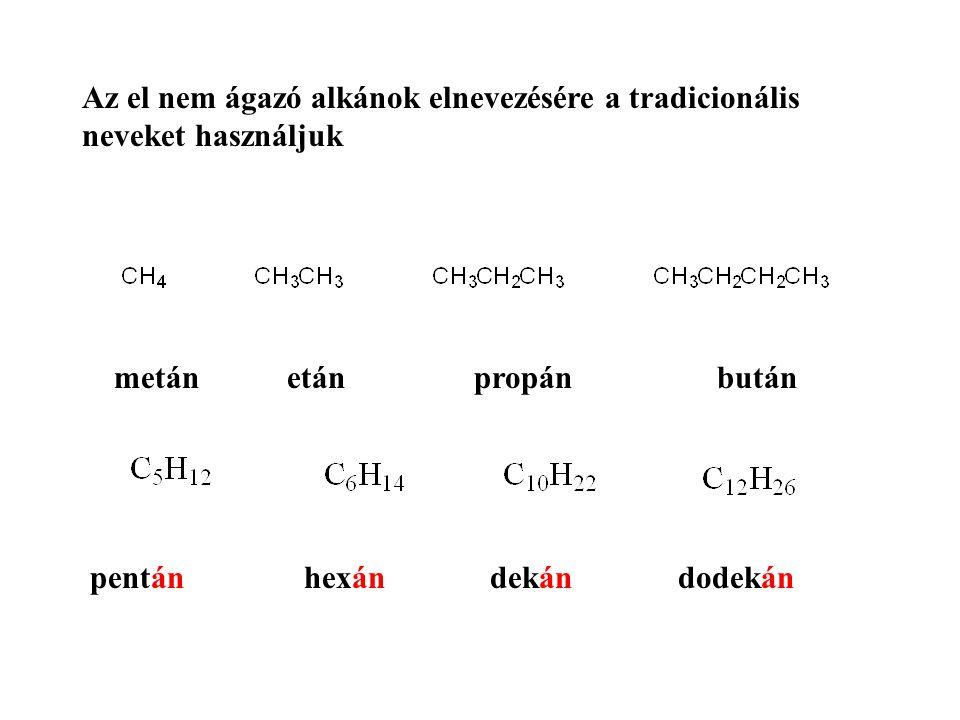 Az el nem ágazó alkánok elnevezésére a tradicionális neveket használjuk