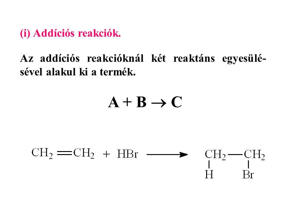 A + B  C (i) Addíciós reakciók.