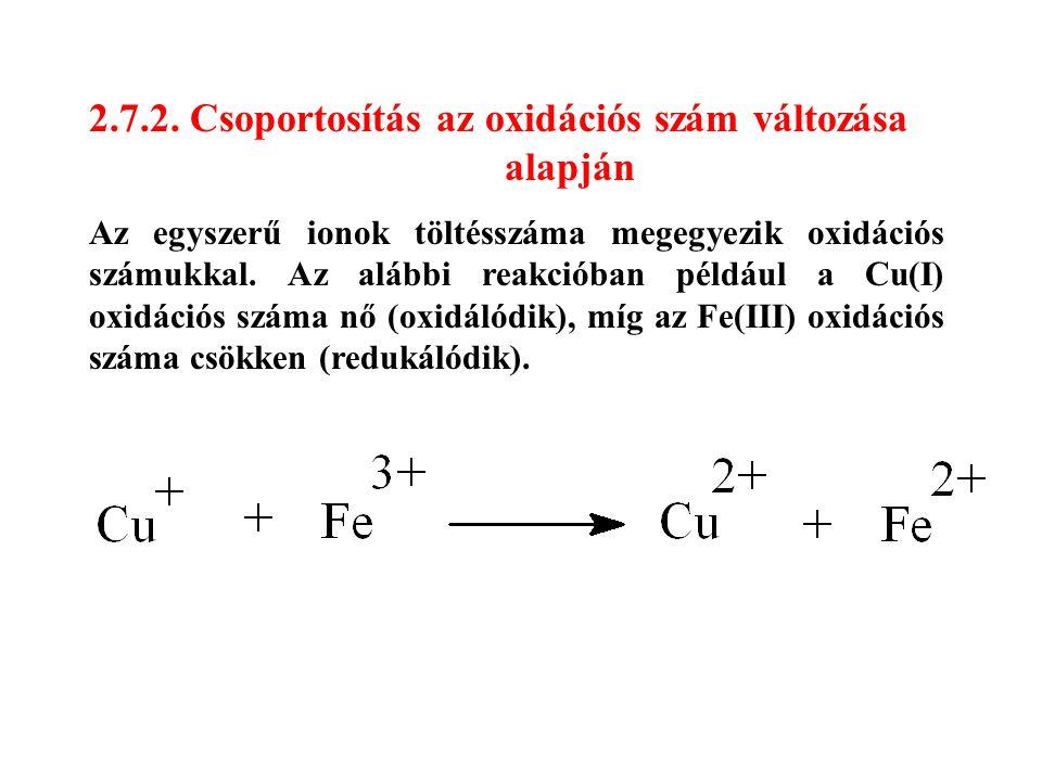 2.7.2. Csoportosítás az oxidációs szám változása alapján