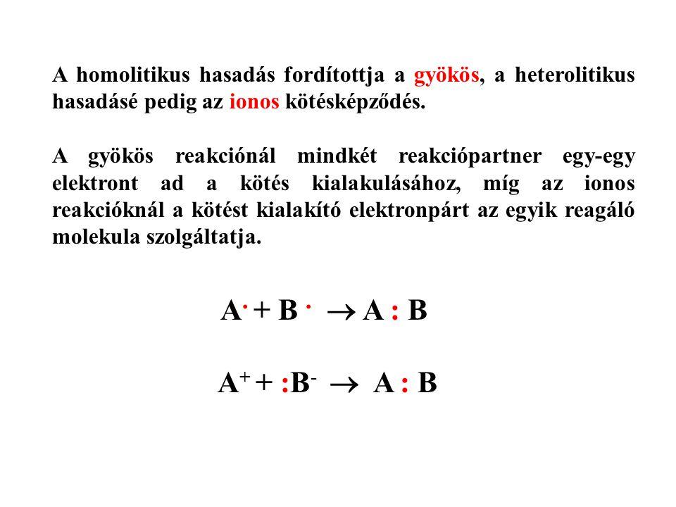 A homolitikus hasadás fordítottja a gyökös, a heterolitikus hasadásé pedig az ionos kötésképződés.