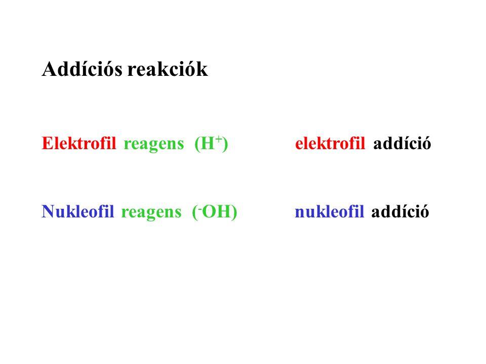 Addíciós reakciók Elektrofil reagens (H+) elektrofil addíció