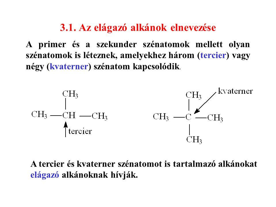 3.1. Az elágazó alkánok elnevezése