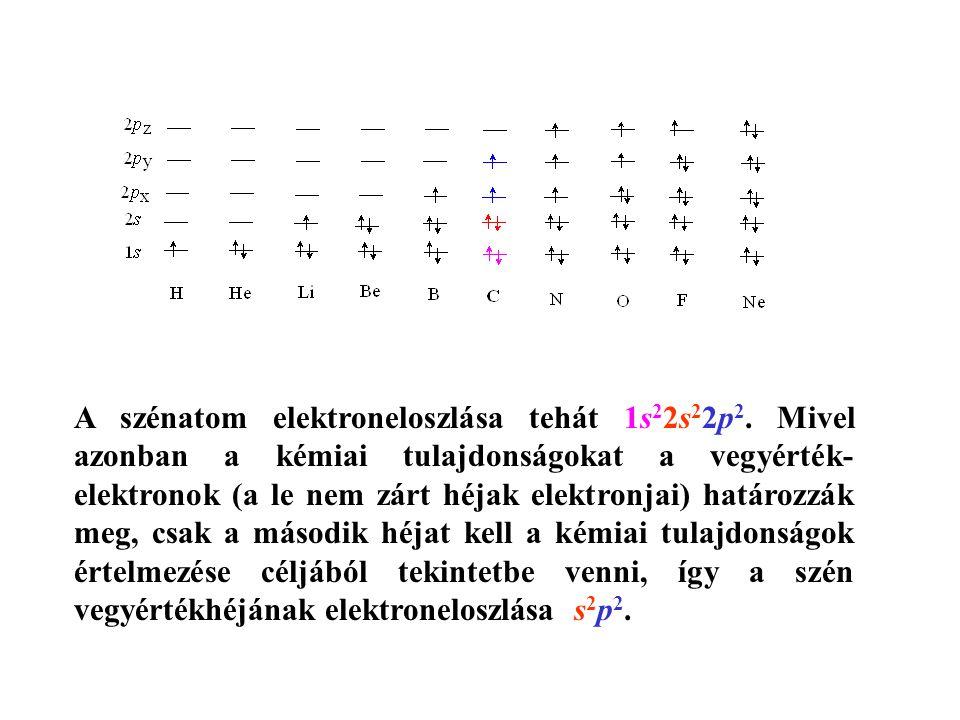 A szénatom elektroneloszlása tehát 1s22s22p2