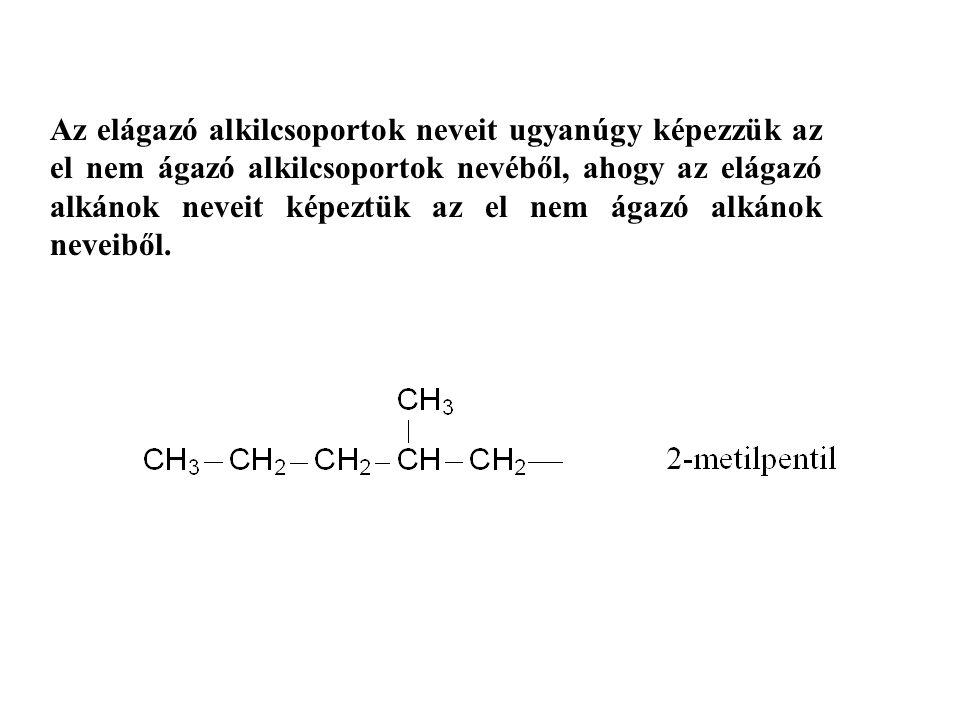 Az elágazó alkilcsoportok neveit ugyanúgy képezzük az el nem ágazó alkilcsoportok nevéből, ahogy az elágazó alkánok neveit képeztük az el nem ágazó alkánok neveiből.