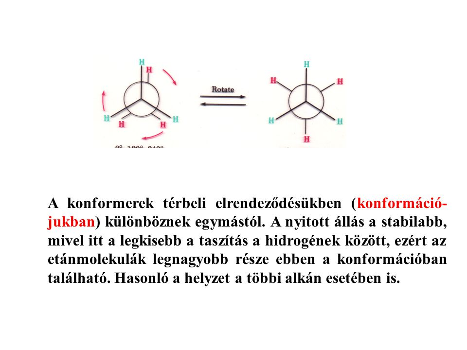 A konformerek térbeli elrendeződésükben (konformáció-jukban) különböznek egymástól.