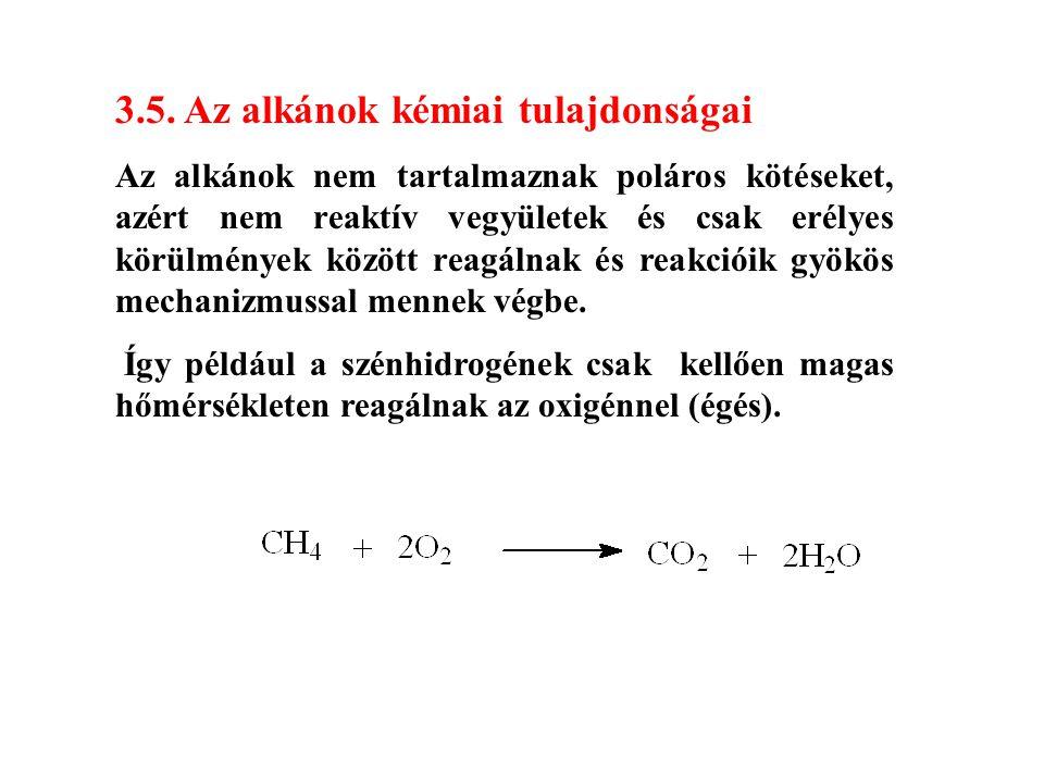 3.5. Az alkánok kémiai tulajdonságai