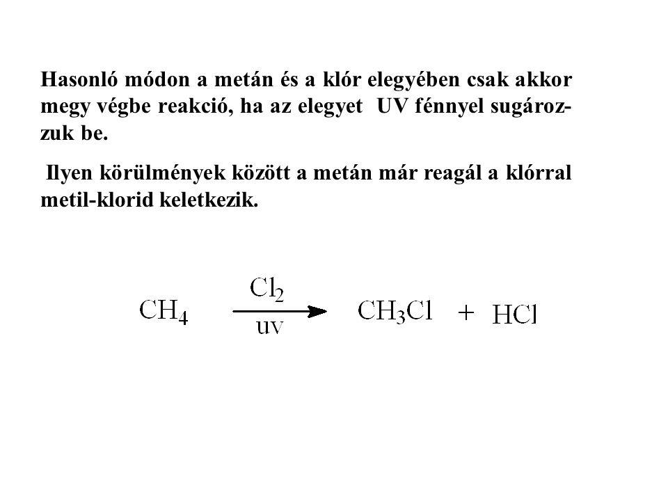 Hasonló módon a metán és a klór elegyében csak akkor megy végbe reakció, ha az elegyet UV fénnyel sugároz-zuk be.