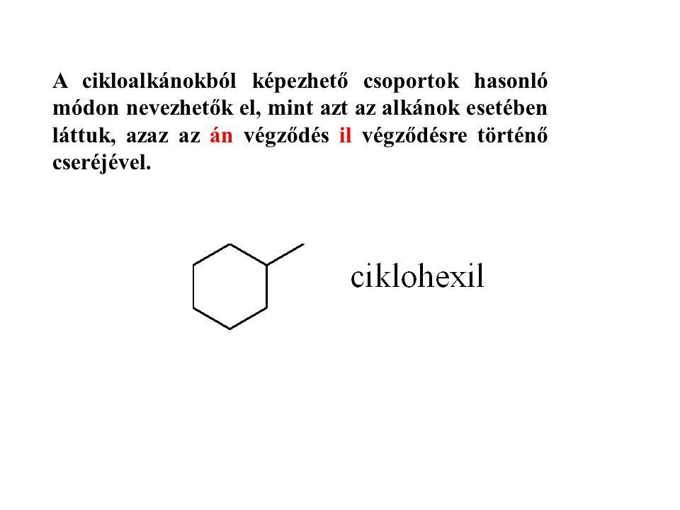 A cikloalkánokból képezhető csoportok hasonló módon nevezhetők el, mint azt az alkánok esetében láttuk, azaz az án végződés il végződésre történő cseréjével.