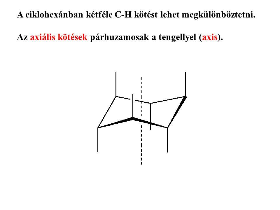 A ciklohexánban kétféle C-H kötést lehet megkülönböztetni.