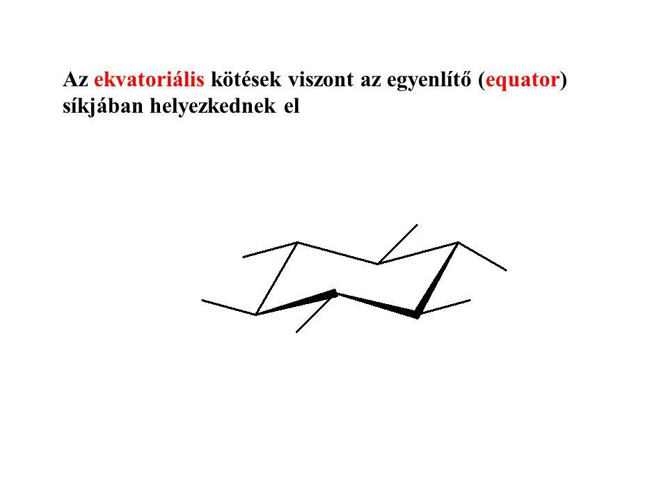 Az ekvatoriális kötések viszont az egyenlítő (equator) síkjában helyezkednek el