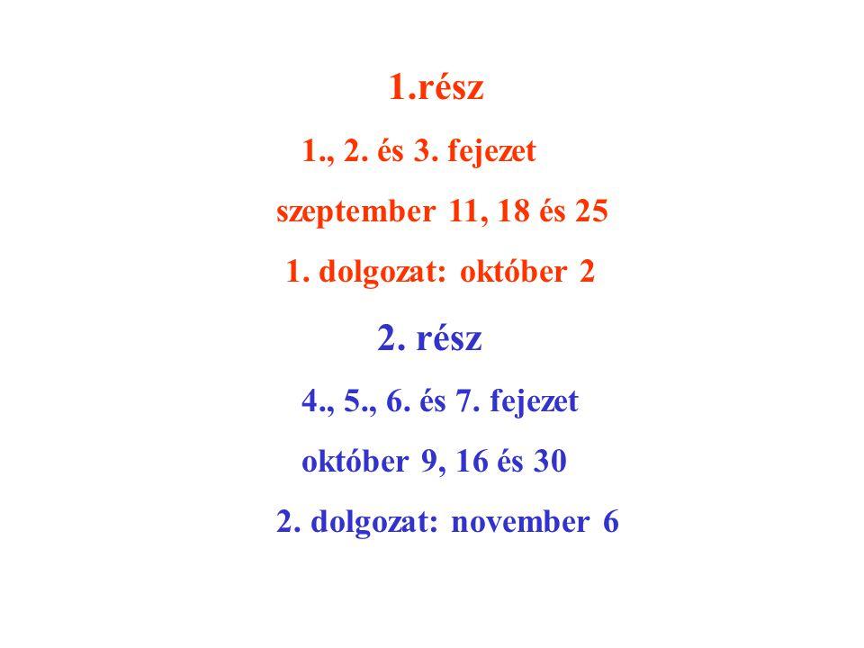 1.rész 1., 2. és 3. fejezet szeptember 11, 18 és 25