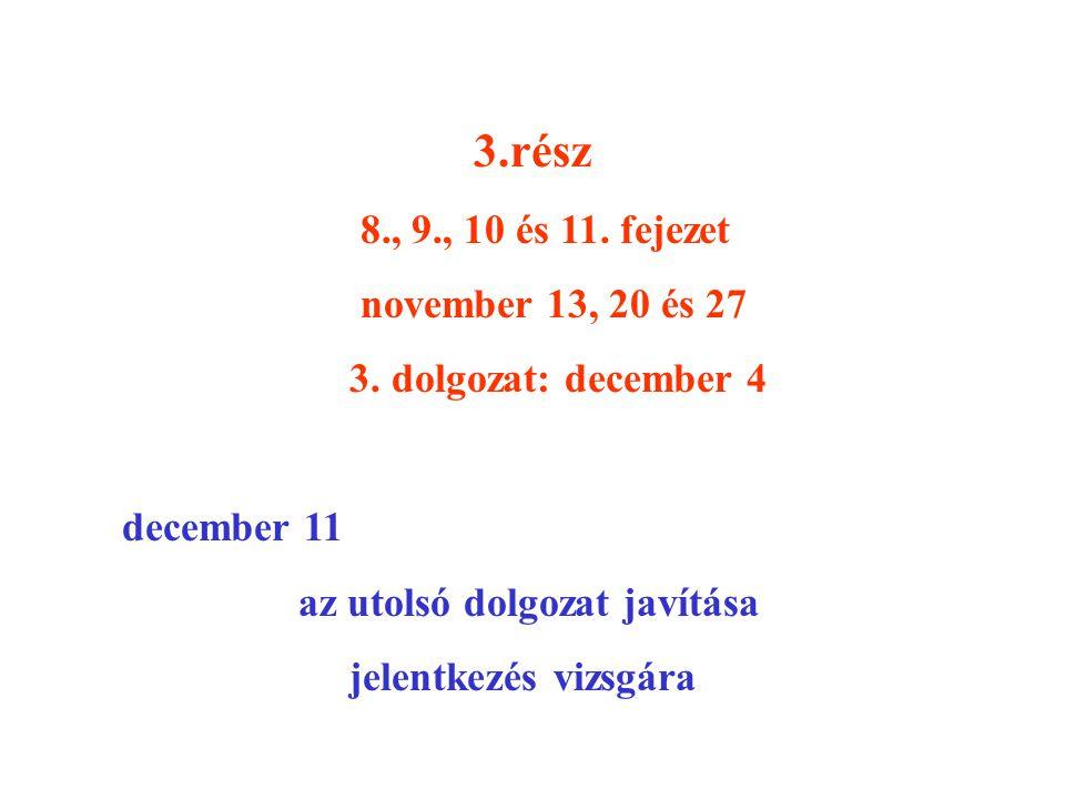 3.rész 8., 9., 10 és 11. fejezet. november 13, 20 és 27. 3. dolgozat: december 4. december 11. az utolsó dolgozat javítása.