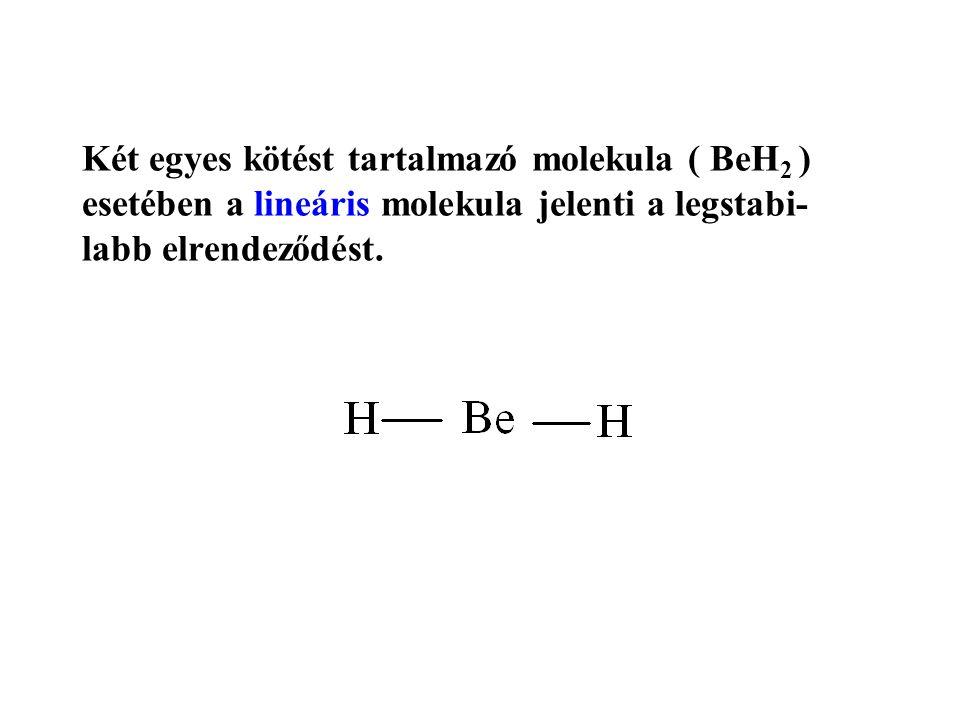 Két egyes kötést tartalmazó molekula ( BeH2 ) esetében a lineáris molekula jelenti a legstabi-labb elrendeződést.