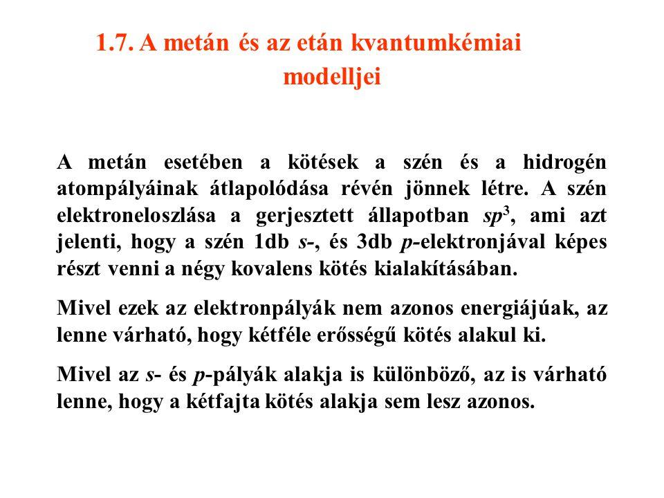 1.7. A metán és az etán kvantumkémiai modelljei