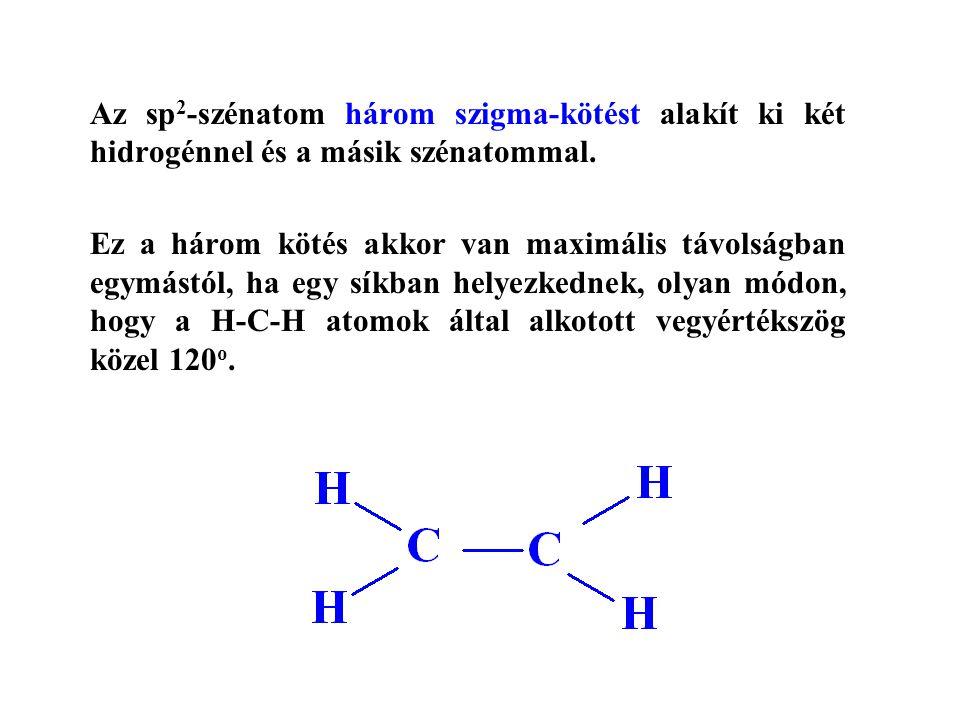 Az sp2-szénatom három szigma-kötést alakít ki két hidrogénnel és a másik szénatommal.