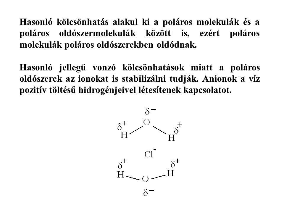 Hasonló kölcsönhatás alakul ki a poláros molekulák és a poláros oldószermolekulák között is, ezért poláros molekulák poláros oldószerekben oldódnak.