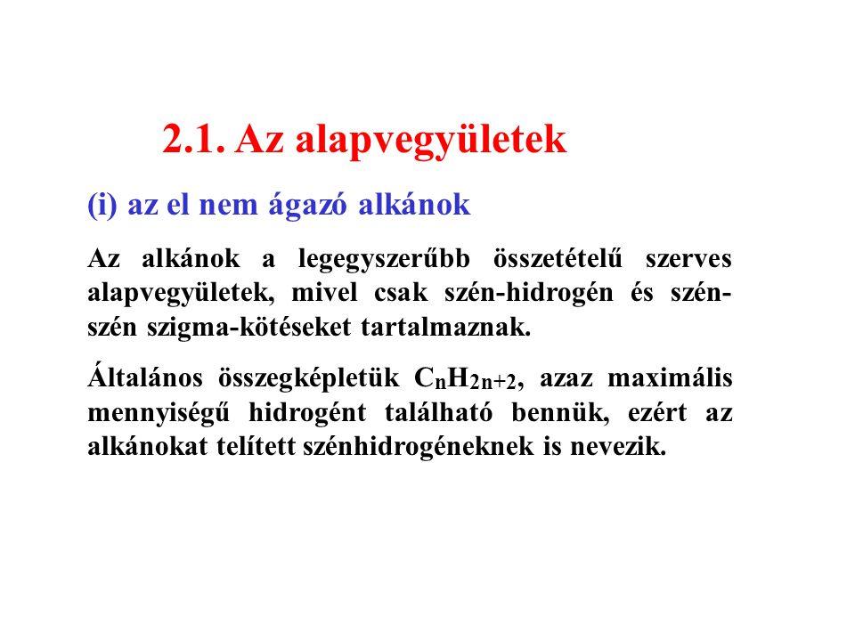 2.1. Az alapvegyületek (i) az el nem ágazó alkánok