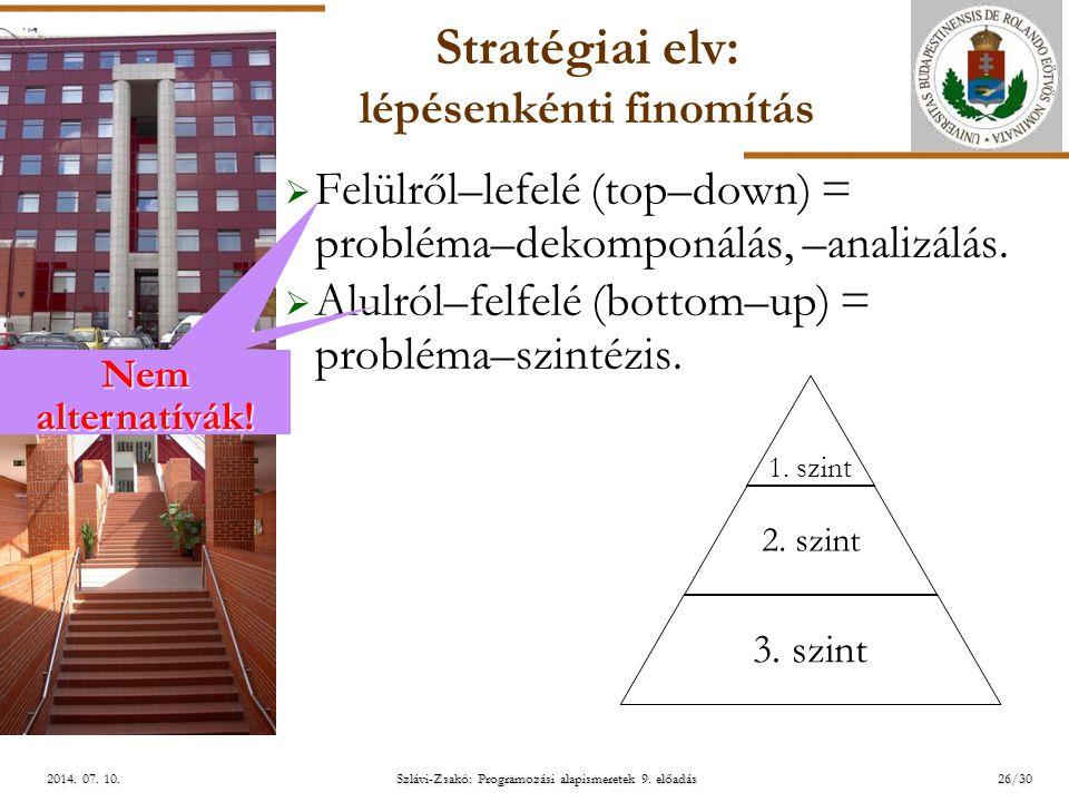 Stratégiai elv: lépésenkénti finomítás