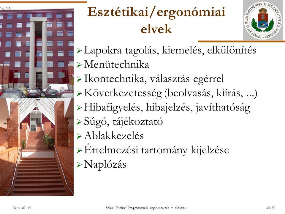 Esztétikai/ergonómiai elvek