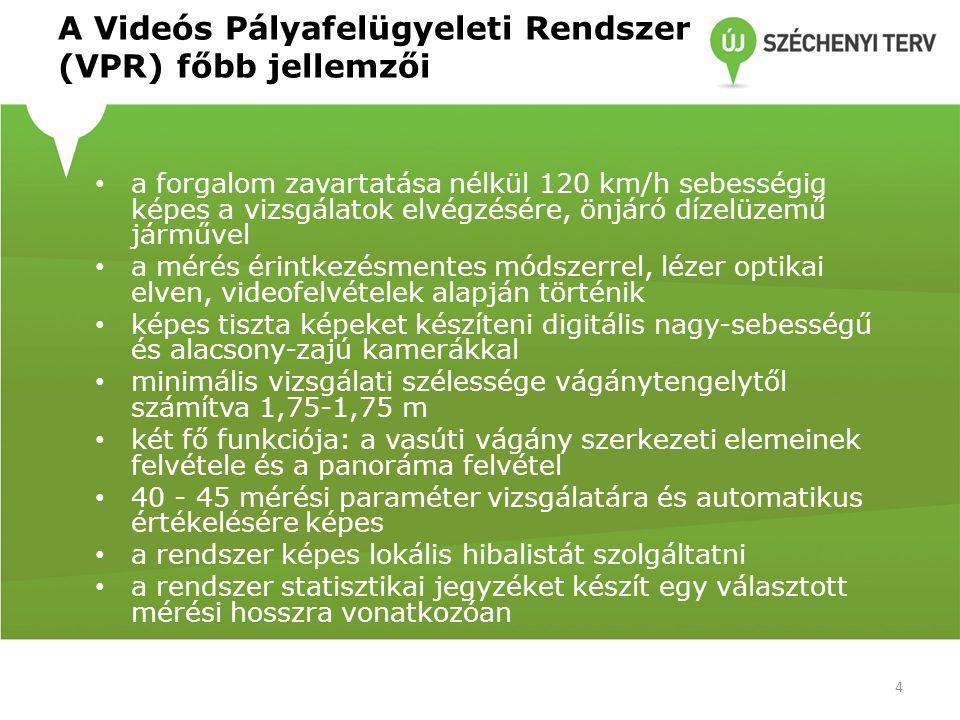 A Videós Pályafelügyeleti Rendszer (VPR) főbb jellemzői