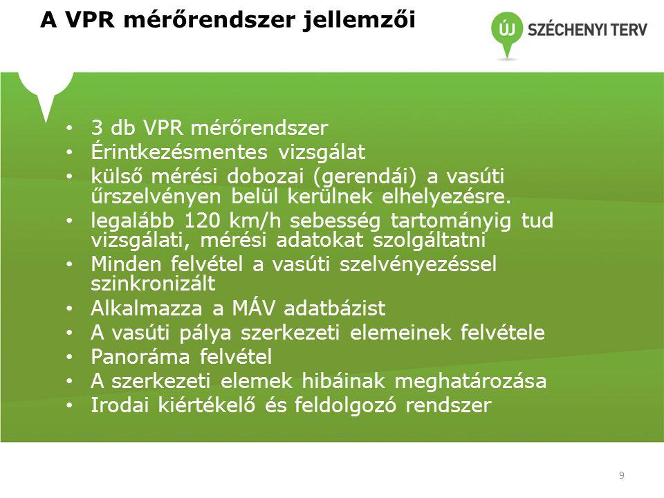 A VPR mérőrendszer jellemzői