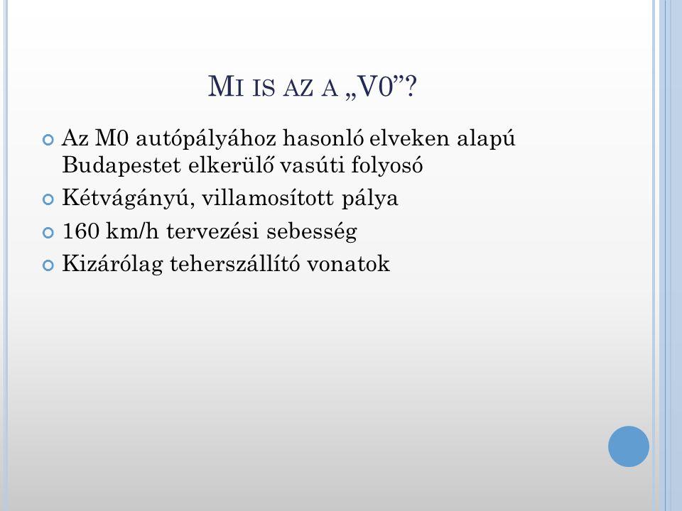 """Mi is az a """"V0 Az M0 autópályához hasonló elveken alapú Budapestet elkerülő vasúti folyosó. Kétvágányú, villamosított pálya."""