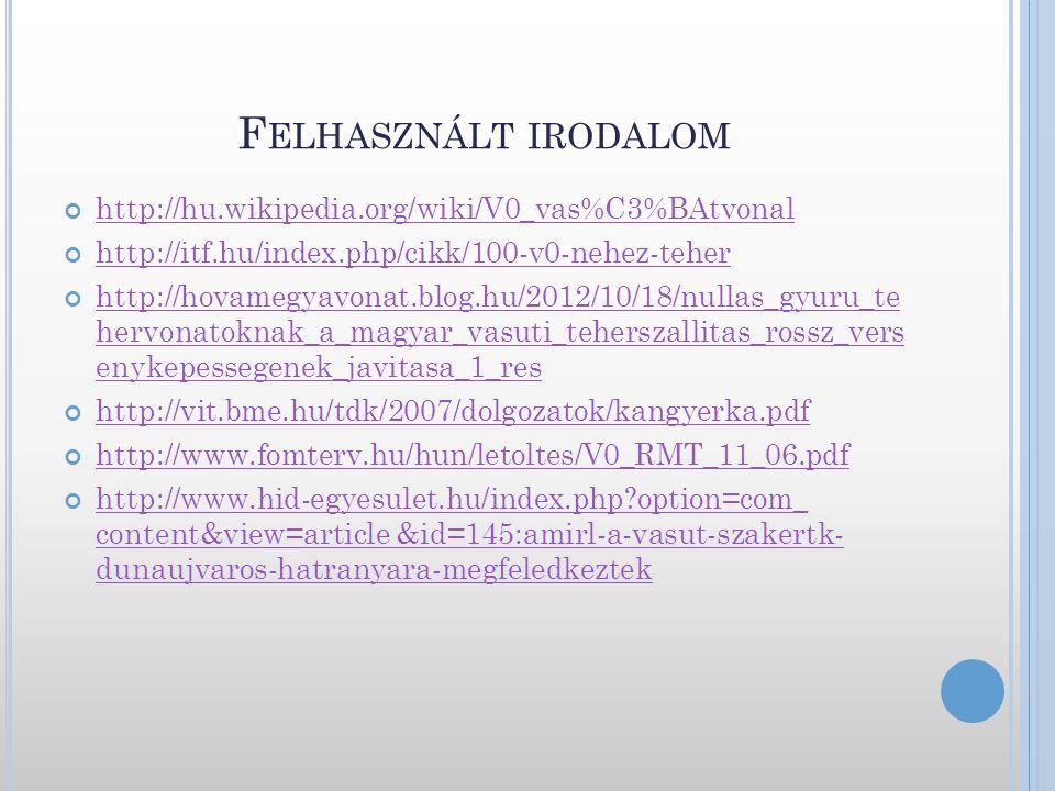 Felhasznált irodalom http://hu.wikipedia.org/wiki/V0_vas%C3%BAtvonal