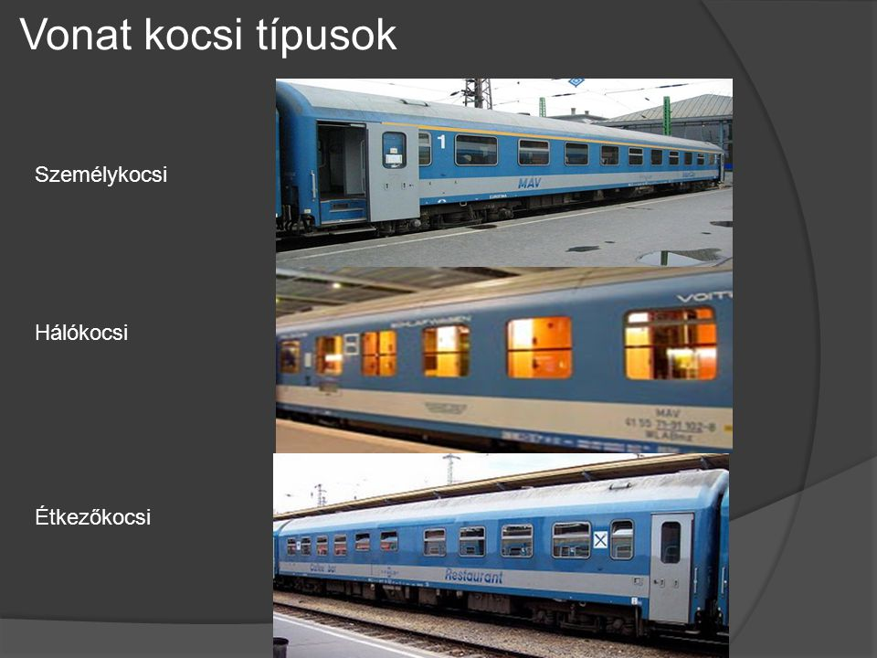 Vonat kocsi típusok Személykocsi Hálókocsi Étkezőkocsi