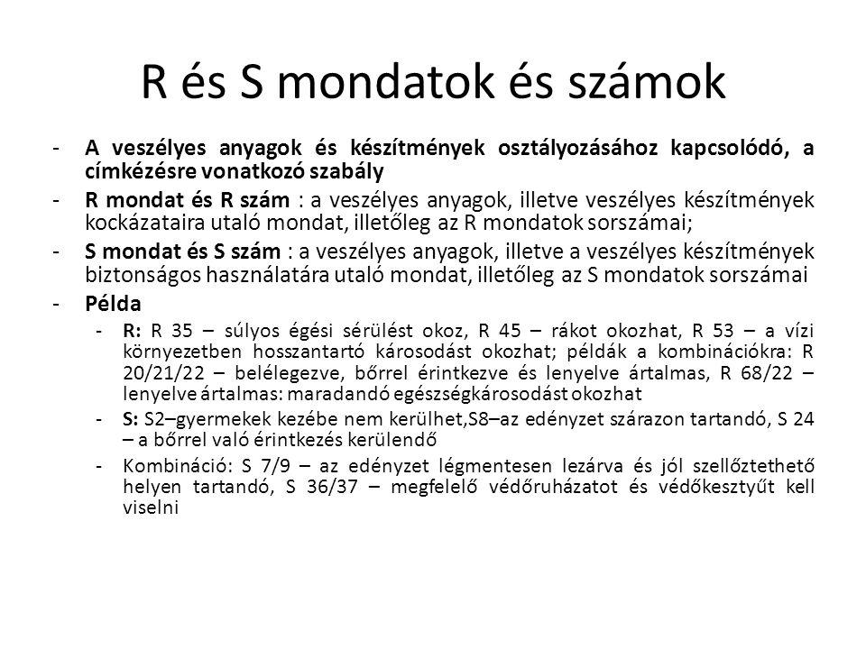 R és S mondatok és számok