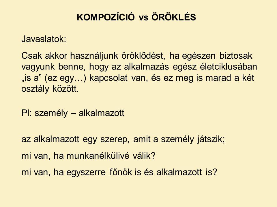 KOMPOZÍCIÓ vs ÖRÖKLÉS Javaslatok: