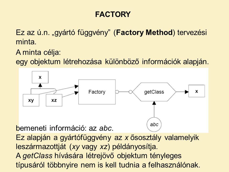 """FACTORY Ez az ú.n. """"gyártó függvény (Factory Method) tervezési minta. A minta célja: egy objektum létrehozása különböző információk alapján."""