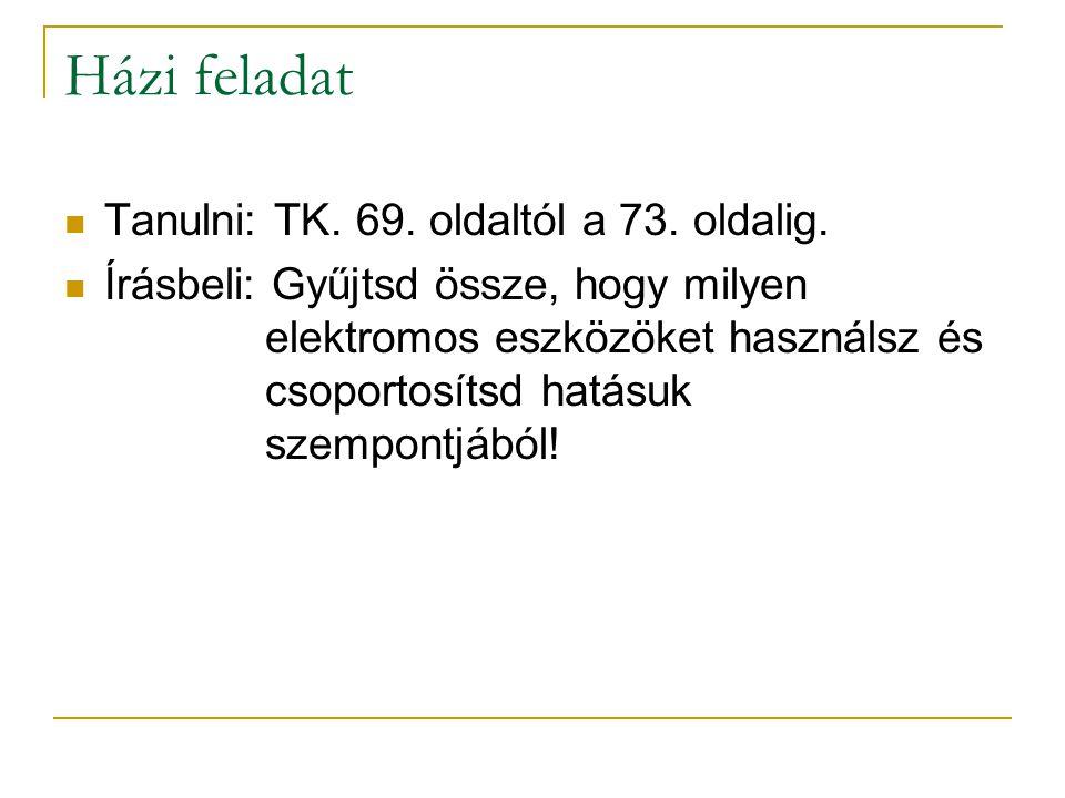 Házi feladat Tanulni: TK. 69. oldaltól a 73. oldalig.