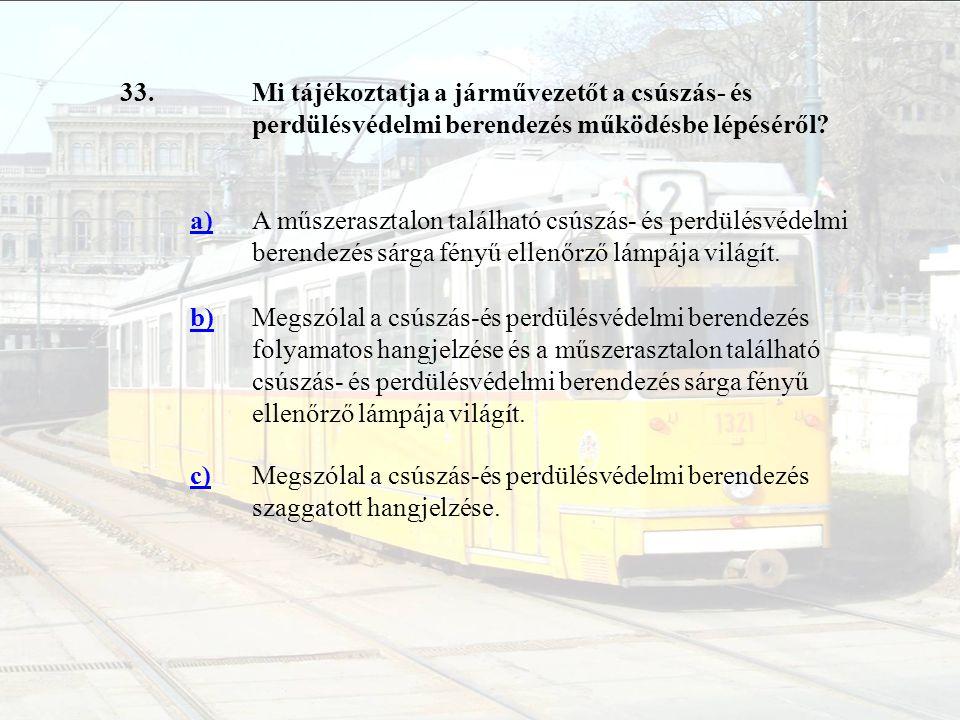 33. Mi tájékoztatja a járművezetőt a csúszás- és perdülésvédelmi berendezés működésbe lépéséről a)