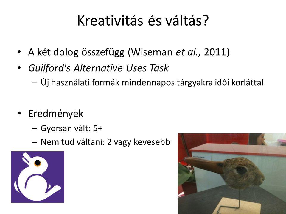 Kreativitás és váltás A két dolog összefügg (Wiseman et al., 2011)