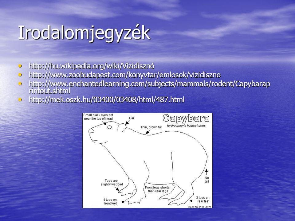 Irodalomjegyzék http://hu.wikipedia.org/wiki/Vízidisznó