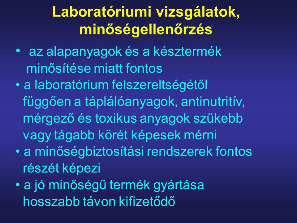 Laboratóriumi vizsgálatok, minőségellenőrzés