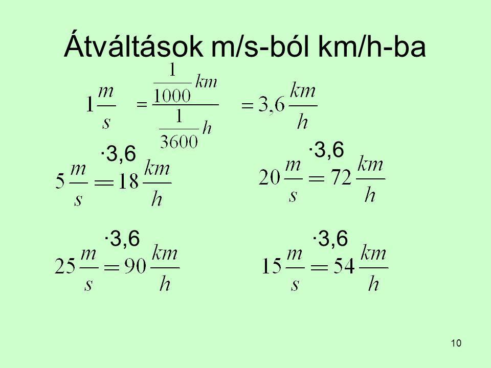 Átváltások m/s-ból km/h-ba