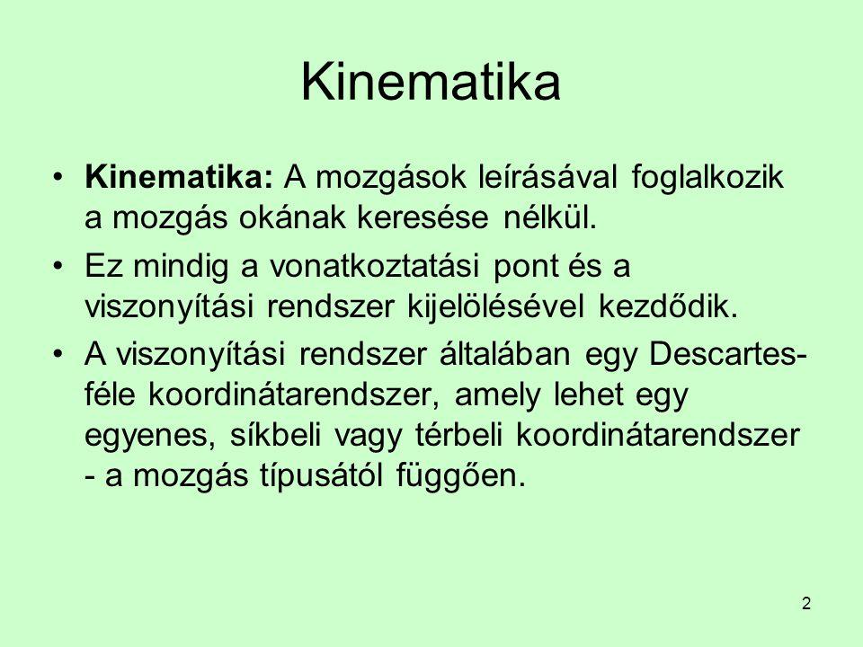 Kinematika Kinematika: A mozgások leírásával foglalkozik a mozgás okának keresése nélkül.