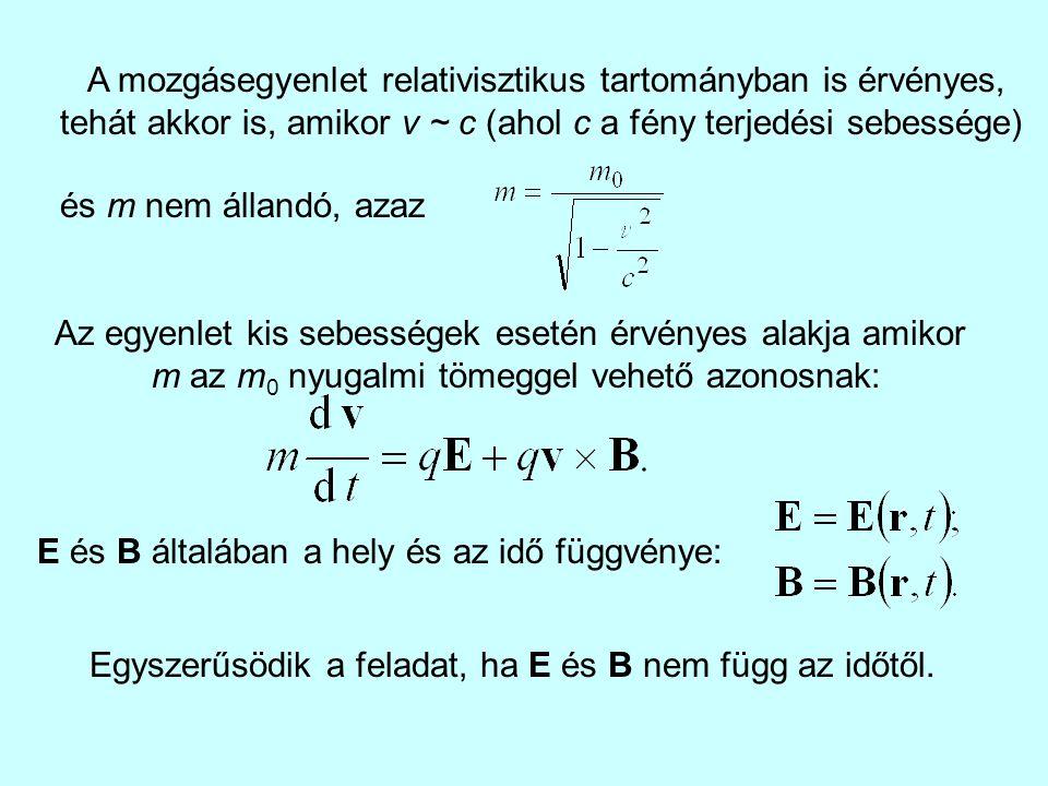 A mozgásegyenlet relativisztikus tartományban is érvényes,