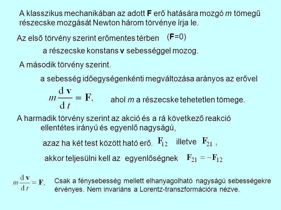 A klasszikus mechanikában az adott F erő hatására mozgó m tömegű