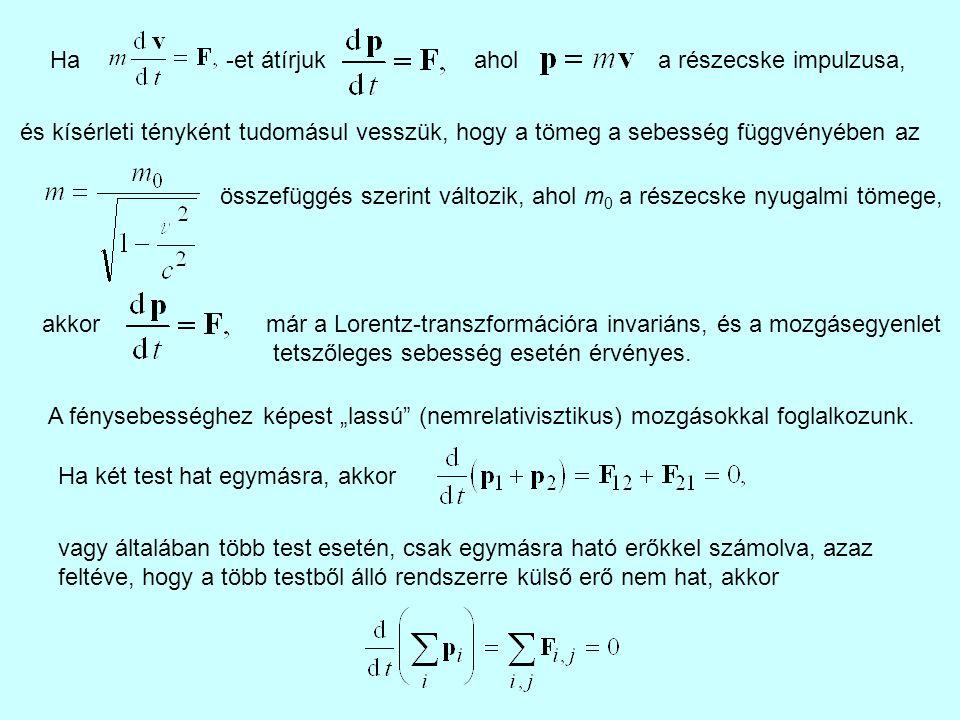 Ha -et átírjuk. ahol. a részecske impulzusa, és kísérleti tényként tudomásul vesszük, hogy a tömeg a sebesség függvényében az.