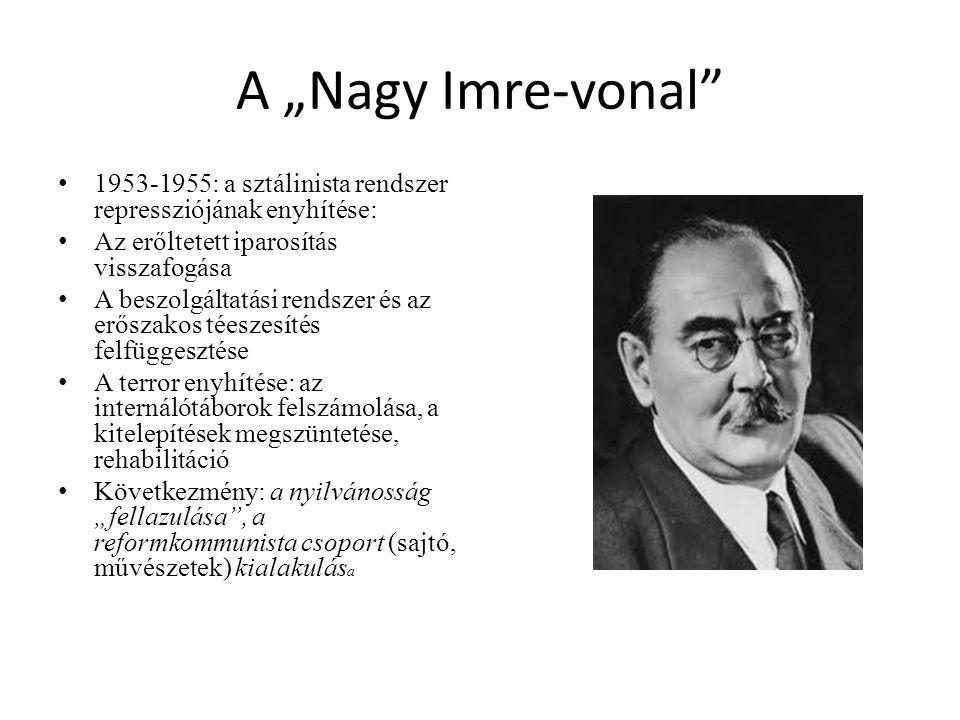 """A """"Nagy Imre-vonal 1953-1955: a sztálinista rendszer repressziójának enyhítése: Az erőltetett iparosítás visszafogása."""