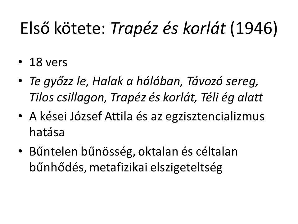 Első kötete: Trapéz és korlát (1946)