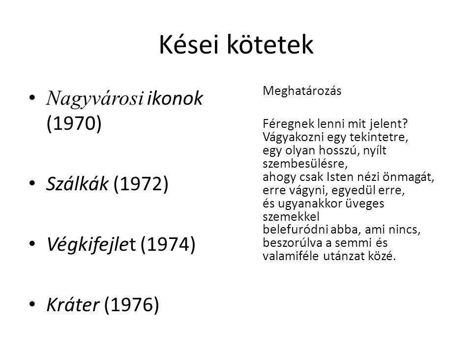 Kései kötetek Nagyvárosi ikonok (1970) Szálkák (1972)
