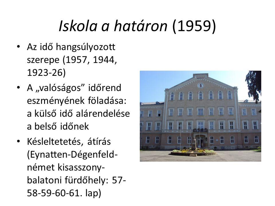 Iskola a határon (1959) Az idő hangsúlyozott szerepe (1957, 1944, 1923-26)